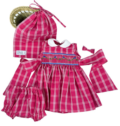 Beautifully handmade miniature red checked smocked dress with Peter Pan collar and puffed sleeves. Doll collector outfit.