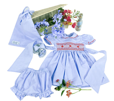 Lavender Blue Princess Charlotte miniature outfit and smocked dress