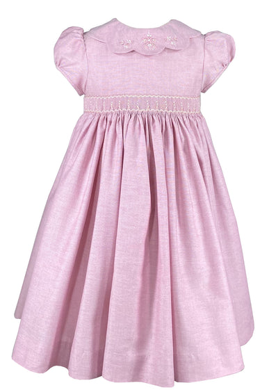 Petal collar pink smocked dress - classic children's clothing  - Charlotte sy Dimby - Born on Fifth - Bows & Blue -  Emily Hertz