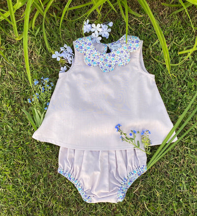 summer sleeveless floral print petal collar blouse and matching bloomer for babies and girls, chic childrenswear