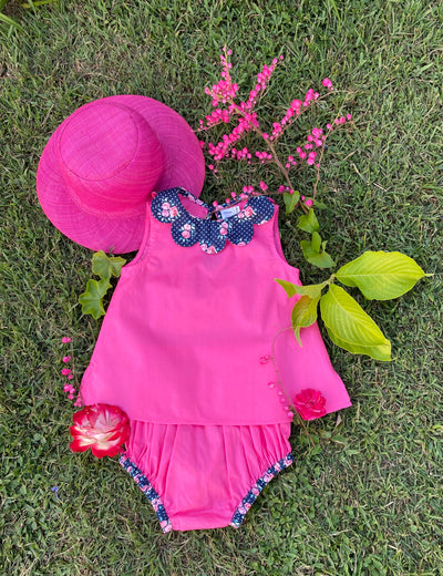 pink petal collar set for babies and girls - summer sleeveless blouse with petal print collar and bloomer, chic French style