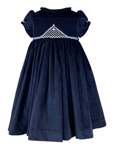 Navy velvet Amandine smocked dress - Classic chic winter style - Perfect outfit for celebrations and Christmas parties