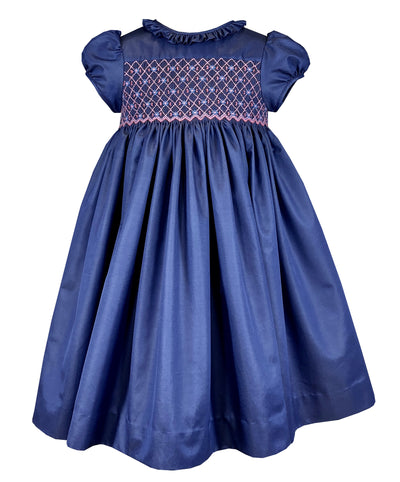 Blue taffeta party dress, front and back smocking, timeless classic baby and girl princess party outfit