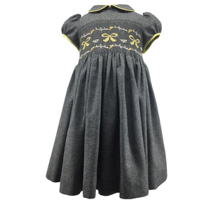 handmade smocked dress charlotte sy dimby  timeless style girl baby grey yellow