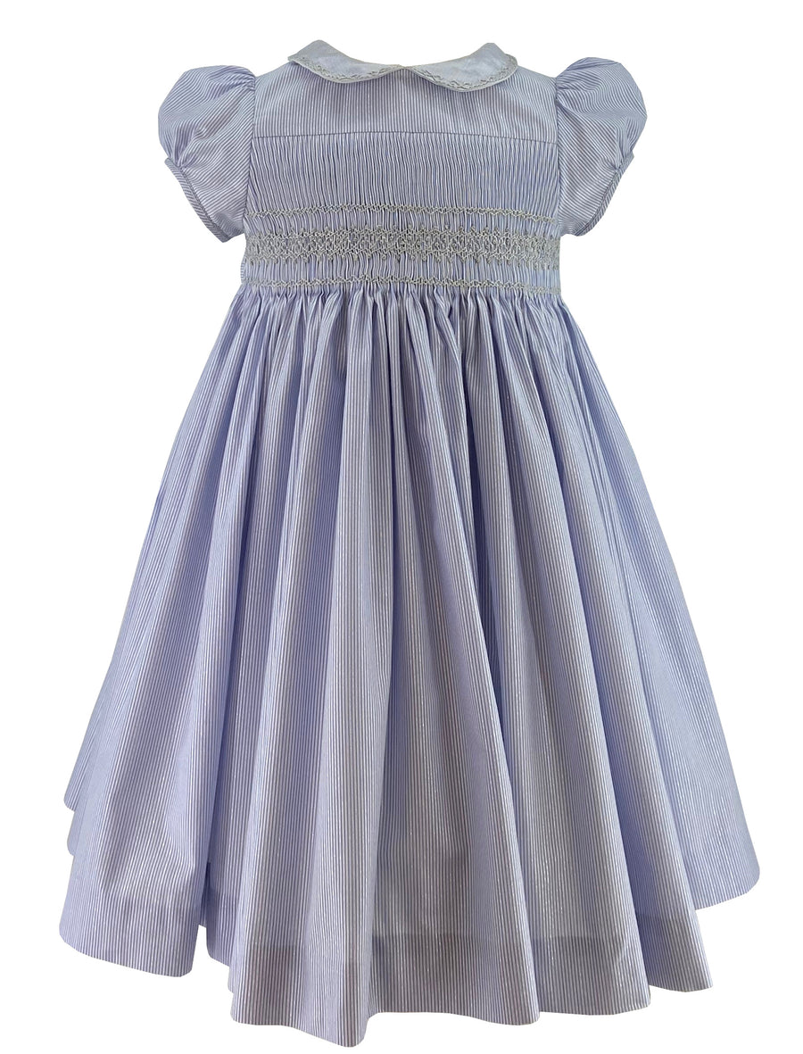 handmade-smocked-dress-summer-silver-blue-stripes-party-cerise-fabrice-classic-timeless-peter-pan-collar-cerise-baby-girl