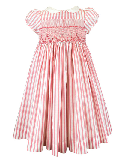 Pink and white Peter Pan collar spring summer dress for babies and girls - classic chic French style
