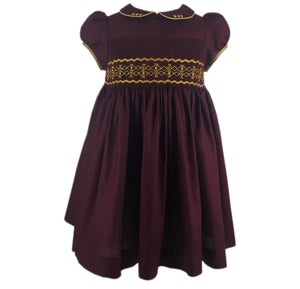 BORDEAUX CERISE DRESS - GOLD NATURE SMOCKS