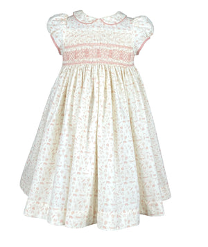 Petal collar smocked dress with woodland inspired handmade embroideries and short puffed sleeves