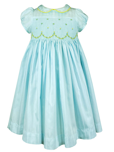 pastel green Peter Pan collar spring summer French style Easter dress with flowers