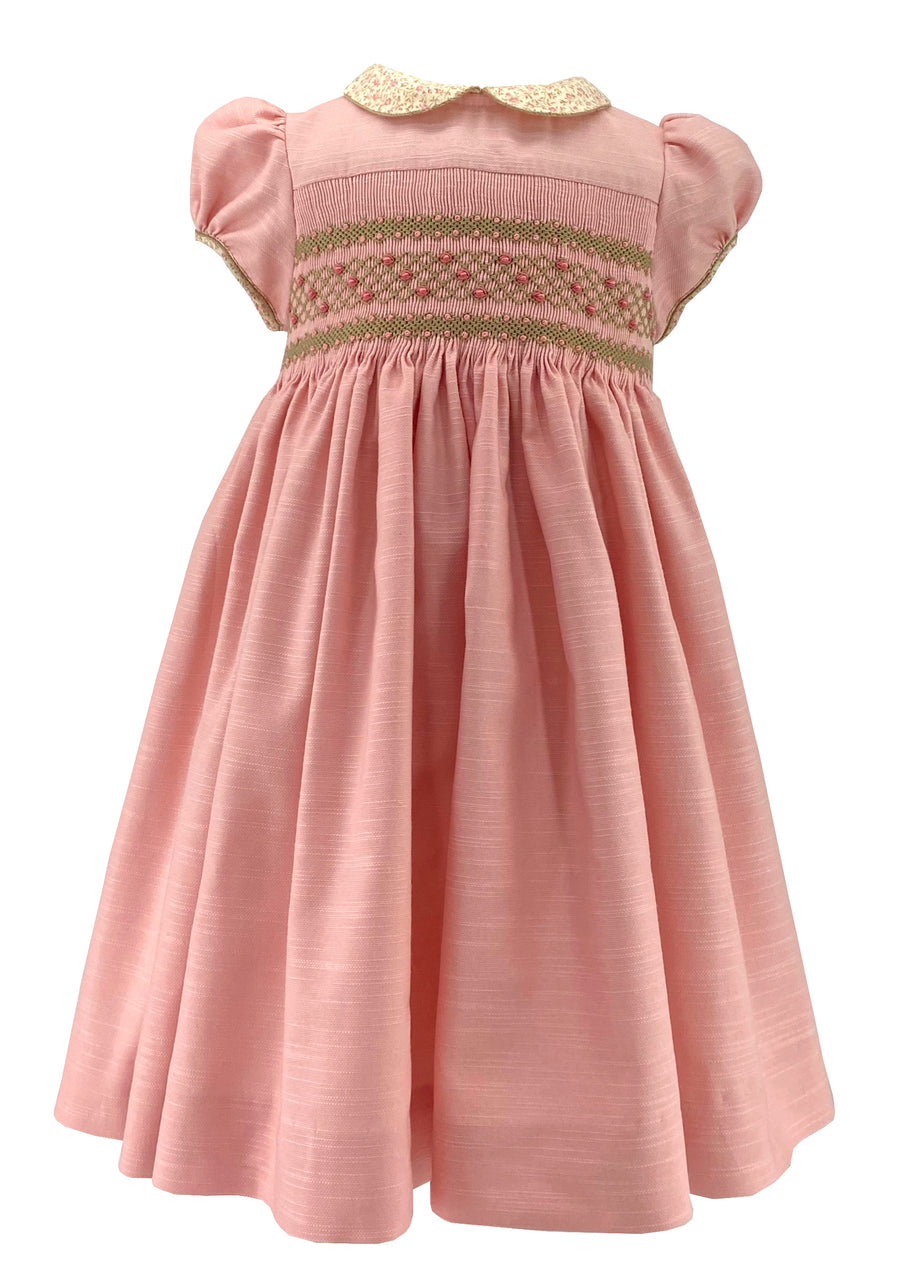 Handmade baby and girl dusty rose pink cerise smocked dress with floral print collar - timeless chic French style ""