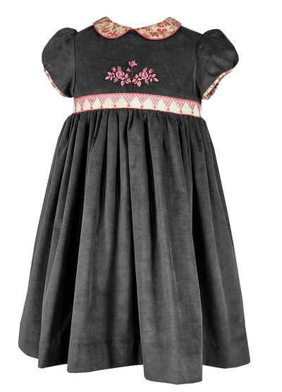 J'AI CUEILLI LA ROSE - DEEP GREY SMOCKED AND EMBROIDERED CHLOE DRESS  French style Fall-Winter smocked and embroidered dress for babies and girls by Charlotte sy Dimby. A chic and romantic style for children.