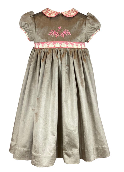 IRIDESCENT GREIGE VELVET CHLOE DRESS. French style Fall-Winter smocked and embroidered velvet dress for babies and girls by Charlotte sy Dimby.
