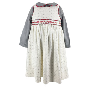 velvet handmade outfit pinafore dress peter pan collar shirt white grey star charlotte sy dimby baby girl winter