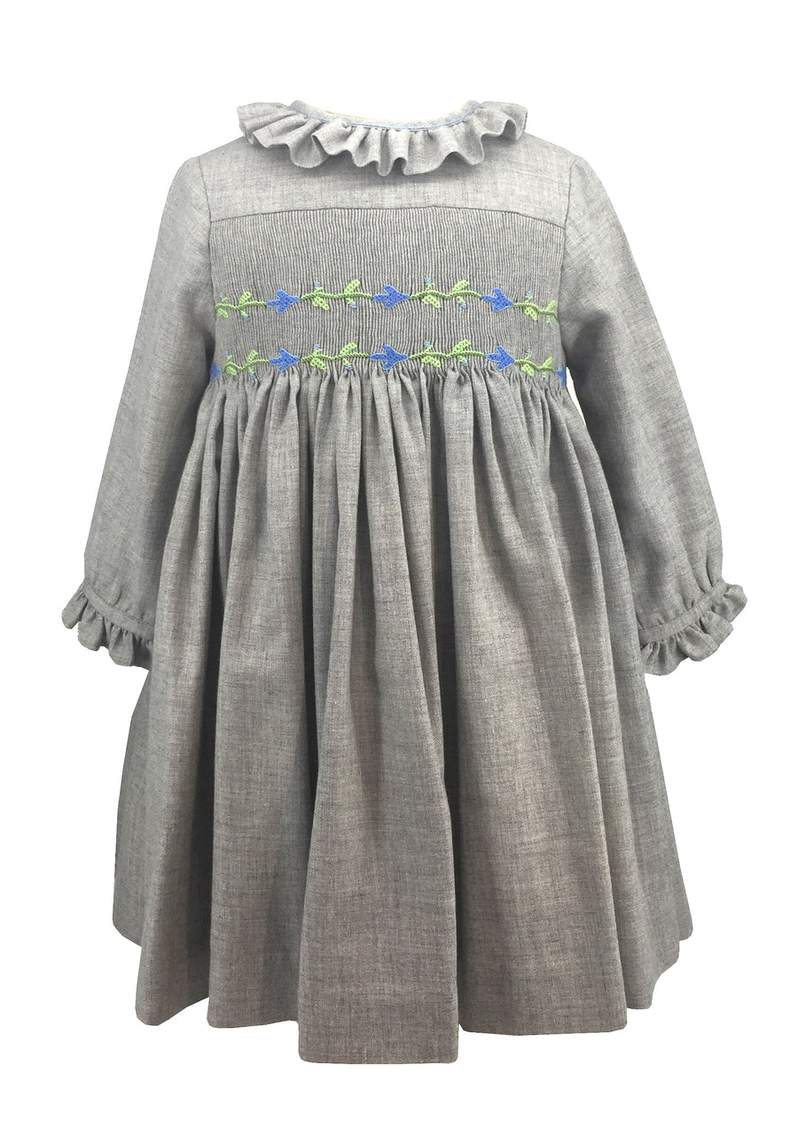 baby-girl-winter-smocked-dress-long sleeves-grey-blue flower-frenchstyle-chic daywear-charlottesydimby -handmade