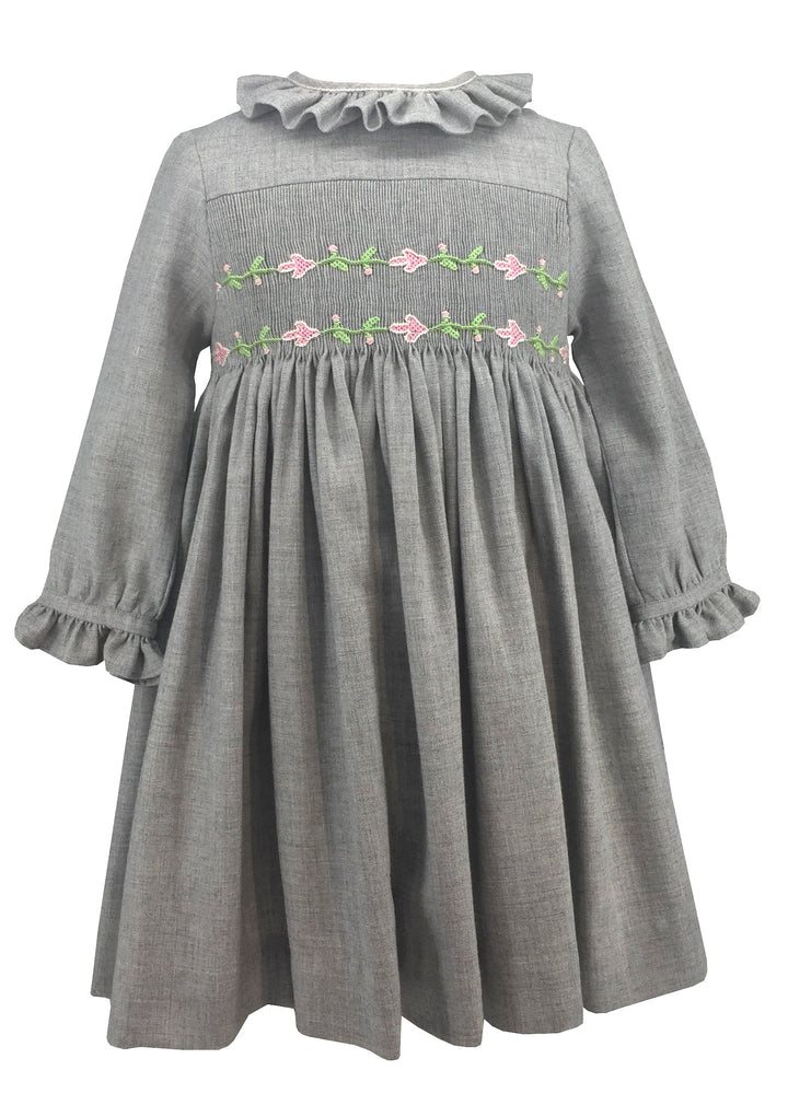 baby-girl-winter-smocked-dress-long sleeves-grey-pink flower-frenchstyle-chic daywear-charlottesydimby -handmade