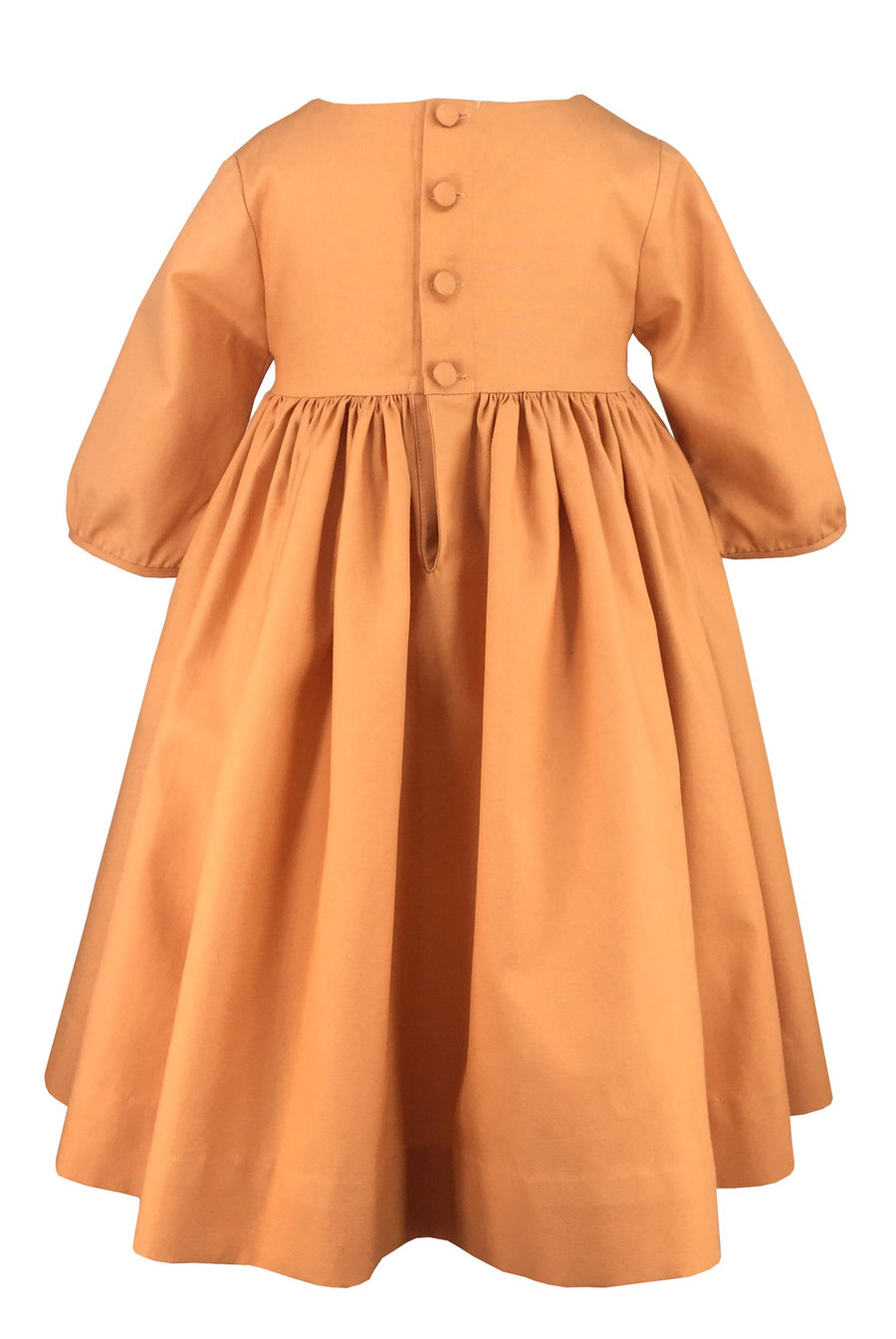charlottesydimby-handmade-classic-chic-fall-winter-smocked-dress-domitille-orange-beaujour-girl-childwear