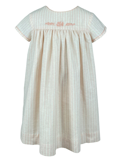 Beautifully handmade dress featuring delicate handmade embroideries. Summer striped dress