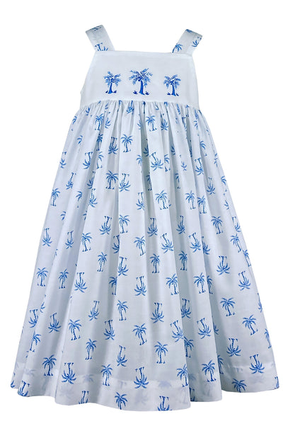 Beautiful strap summer handmade dress with palm tree embroideries. Classic holiday wear for babies and girls