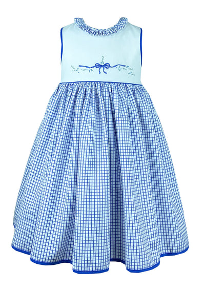 Beautiful blue and white sleeveless summer handmade dress with delicate bow embroidery.