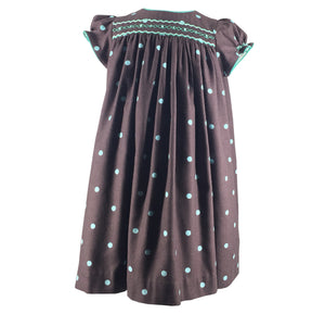 handmade winter brown polka dots smocked dress classic chic frenchstyle paris charlotte sy dimby girl baby