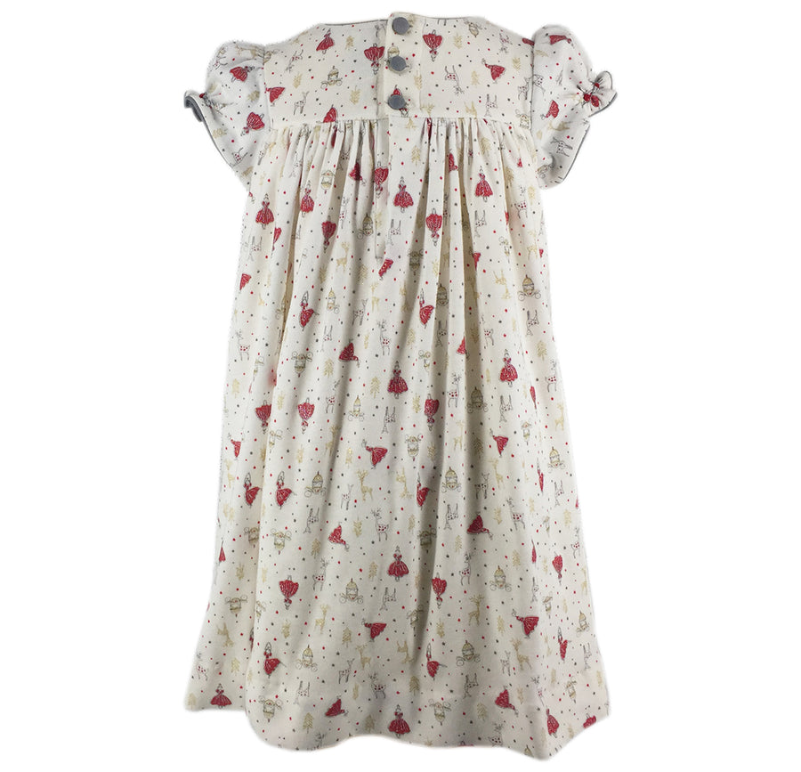PRECIOUS PRINT JOSEPHINE DRESS - RED AND SILVER NATURE SMOCKS