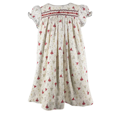 handmade christmas dress precious print smocked winter party baby girl charlotte sy dimby frenchstyle classic chic timeless