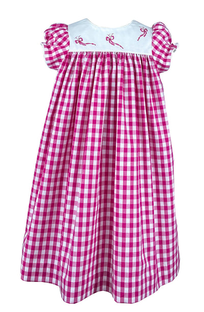 Raspberry gingham summer dress with sweet bow embroideries. A classic summer style for girls.