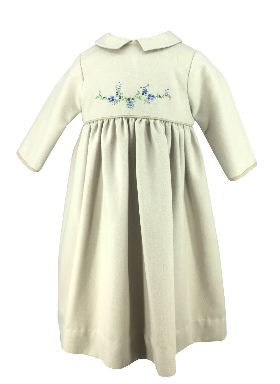 beige brushed cotton winter dress flower embroidery handmade kidswear