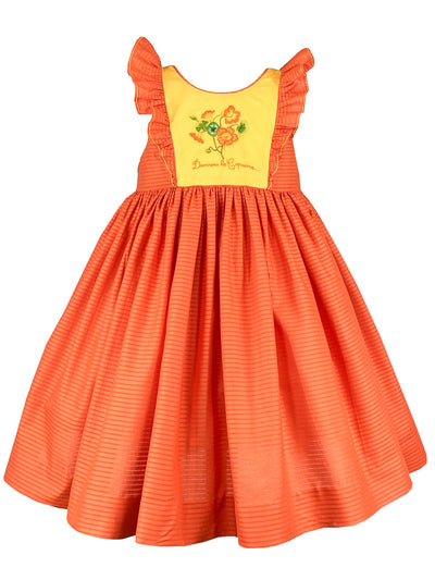 bright orange summer dress with ruffles and handmade floral embroideries for babies and girls
