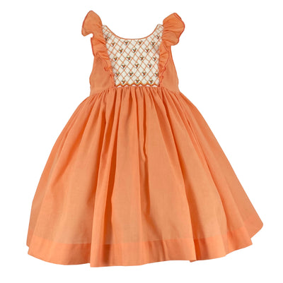Handmade summer classic chic girls heritage style orange smocked Netti dress with ruffles.