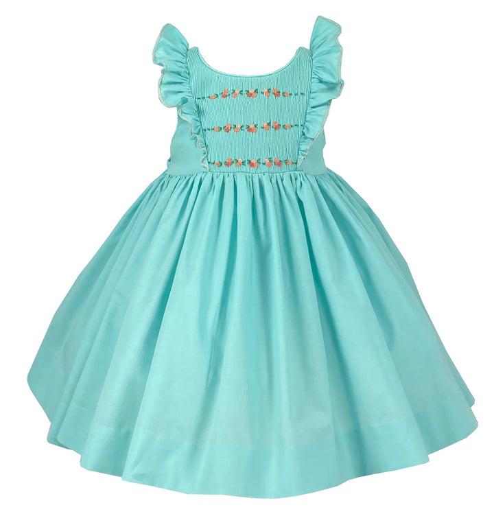 TURQUOISE GREEN  NETTI SMOCKED DRESS