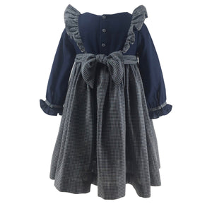 handmade navy gingham smocked dress long sleeve  charlotte sy dimby classic chic girl ruffle
