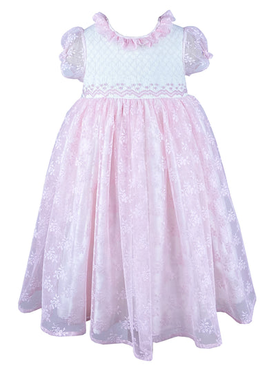 Beautifully handmade pink lace embroidered party dress for girls. Special occasion dress for birthdays, father daughter dance or garden parties.