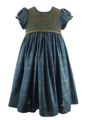 PEACOCK BLUE PREPPY DRESS - GOLD ORME SMOCKS