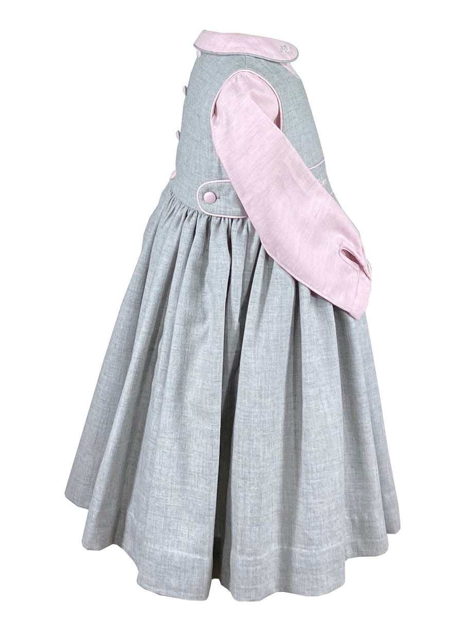 Pinafore dress with bow embroideries and pink shirt for girls - classic children's clothing  - Charlotte sy Dimby - Born on Fifth - Bows & Blue -  Emily Hertz