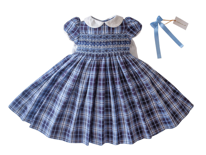 Handmade blue Tartan Marae coat matching fall winter classic chic baby and girl French style smocked dress