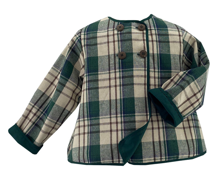 handmade tartan coco mid season jacket for children