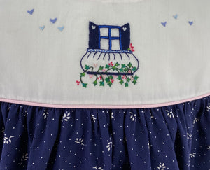 BLUE PRINT GUILIA DRESS - FROM MY WINDOW EMBROIDERY