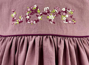 Handmade Mountbatten pink shade estelle smocked dress with love embroideries.