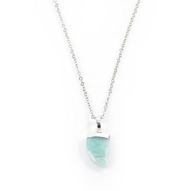 Amazonite Claw Necklace in White Gold