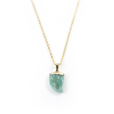 Amazonite Claw Necklace in Yellow Gold