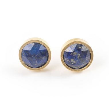 Lapis Lazuli Round Stud Earrings