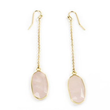 Rose Quartz Chain Earrings