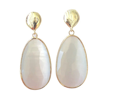 White Catseye Earrings