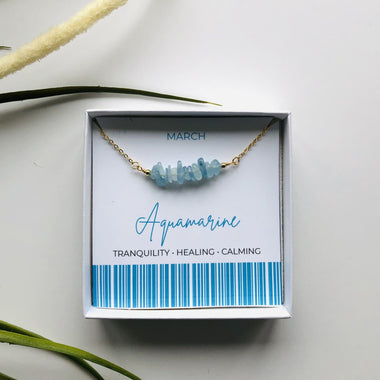 Aquamarine - March Birthstone Necklace