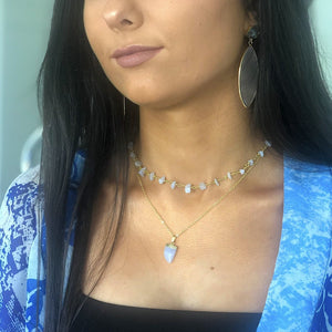 Blue Lace Claw Necklace in White Gold