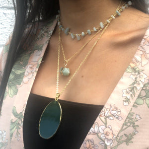 Aventurine Hexagonal Necklace