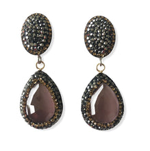 Load image into Gallery viewer, Pink Catseye Teardrop and Pave Earrings