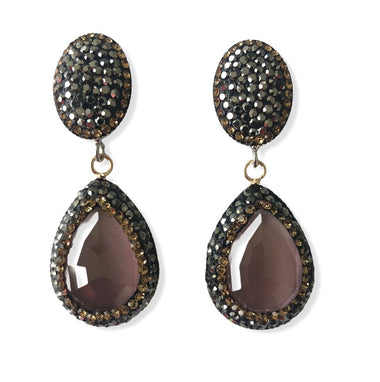 Pink Catseye Teardrop and Pave Earrings