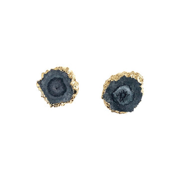 Grey Solar Quartz Stud Earrings